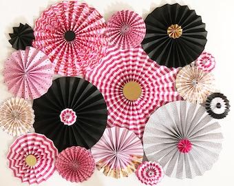 Pink and Black Paper Rosettes | Makeup Party Decor | Makeup Decor | Paper Rosettes | Paper Pinwheels | Backdrop | Vanity Decor | Paper Fans