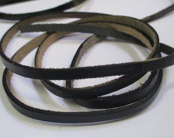 0.50 cm black 5x2mm flat leather cord