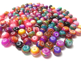 140 multicoloured drawbench beads mixed colors glass painted 6mm (E-35)