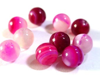 10 striped agate beads shades of pink 6mm