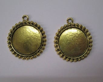 1 charm pendant 34x30mm support cabochon 23mm antiqued gold tone (E-42)