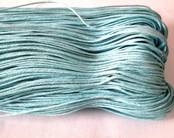 20 meters cotton sky blue waxed thread 1 mm