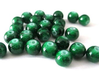 20 dark green speckled beads 6mm (B-05)
