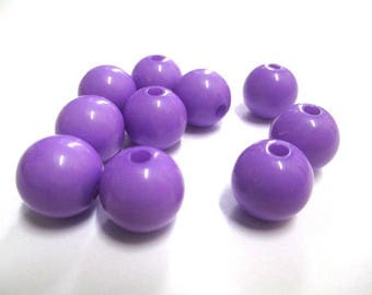 10 Purple 12mm acrylic beads