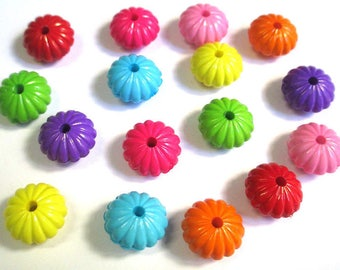 16 beads acrylic flower mix color 14x8mm