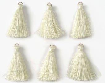 6 PomPoms ecru cotton 4.5 cm