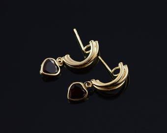 14k 1.00 Ctw Garnet Heart Tiered Tube Hoop Stud Earrings Gold