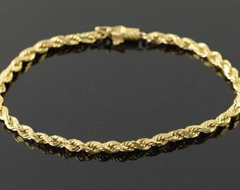 """14k 3.2mm Rope Chain Bracelet Gold 8.5"""""""
