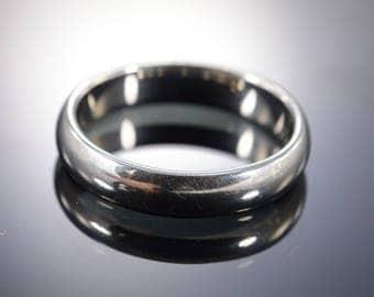 Rounded Plain Wedding Band Ring Palladium