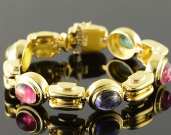 "18k Custom Heavy Cabochon Gem Stone Bracelet Gold 7"""