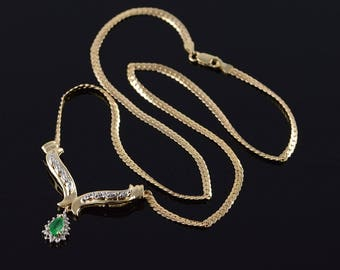14k 0.60 CTW Emerald Diamond Drop Chevron Link Necklace Gold 17""