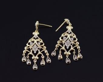 Retro Diamond Scroll Filigree Dangle Stud Earrings Gold