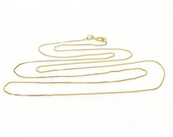 """14k 0.5mm Box Link Fancy Chain Necklace Gold 19"""""""