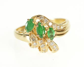 14k 0.52 Ctw Emerald Diamond Cluster Freeform Ring Gold