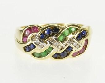 14k Sapphire Ruby Emerald Diamond Channel Braid Ring Gold