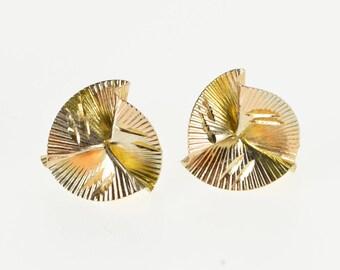 14K Pleated Twist Sprial Design Tri Tone Stud Earrings Yellow Gold