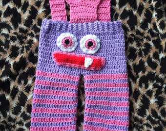 Crochet handmade monster trousers/pants/dungarees 3-6 months