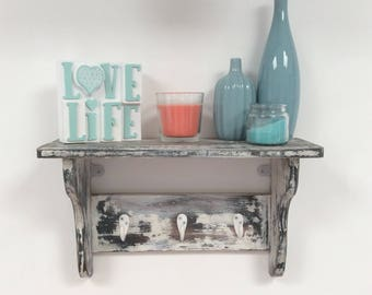 Hand made Heavily distressed shabby chic shelf with coat hooks
