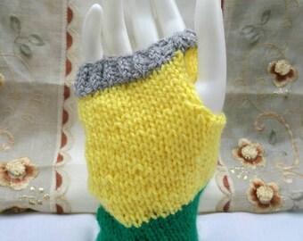 Grey, yellow and green wrist warmers