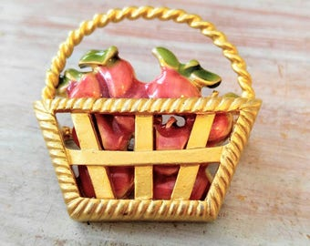 VINTAGE Apples in a Basket Brooch/Pin-Enameled-Red, Gold, Green-Fall, Autumn, Fruit, Food-All Orders Only 99c Shipping!!