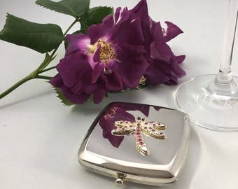 Personalised dragonfly square handbag mirror with Swarovski elements