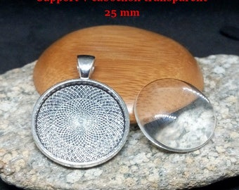 25 mm silver cabochons and supports aged 20 pendants