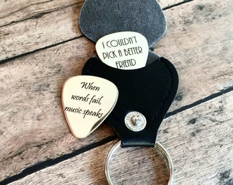 HUGE SALE! Personalized Guitar Pick with leather case, Engraved Guitar Pick - Gift for Husband, Dad, Boyfriend, Groom Gift- Husband Gift