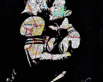 gay muscled leather daddy and son kissing homo queer art by NLMKART PRINT