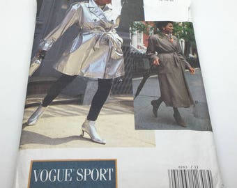 Vogue Sport Sewing Pattern 8263 Women's Coat & Belt A Line Unlined Self Or Contrast Collar Rain Coat Wrap Coat Trench Coat Size 12 14 16