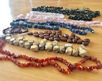 Large & Chip Stone Beads Carnelian,sodalite,jasper,quartz,obsidian