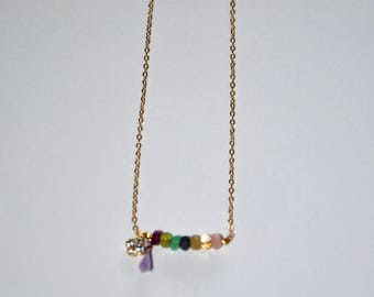 Gold-plated necklace, faceted multi stones, gold-plated mini clover paved Zircons, lavander tassel