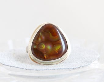 Mexican Fire Agate Cabochon Ring, Sterling Silver Bezel Set, Handmade Metalsmith Gemstone Jewelry, Size 6.5, Unique Iridescent Statement
