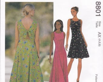 Free Us Ship Sewing Pattern Retro 1990s 90's McCall's 8801 Backless Tie Princess Seams Dress Sleeveless  Sizes 4 6 8, 8 10 12  New