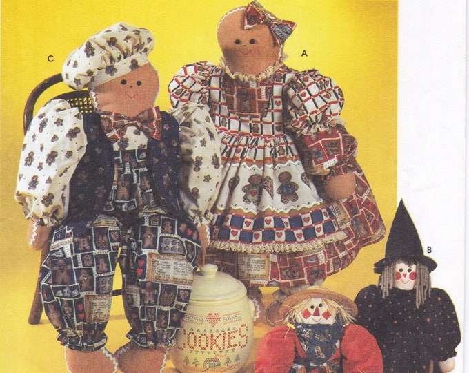 FREE US SHIP Simplicity 7345 Crafts Sewing Pattern Gingerbread Dolls Mr Mrs Witch Christmas Halloween Scarecrow 1996 Uncut