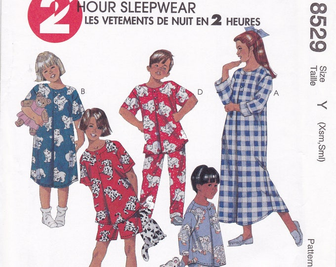 Free Us Ship Sewing Pattern McCall's 8529 8530 Boys Girls Flannel Nightgown Pjs Pajamas Uncut Inverted Pleat Size 2 3 4 5, 6 7 8 10 12 14
