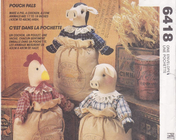 FREE US SHIP McCall's 6418 Home Decor Kitchen Flour Sack Dolls Cow Pig Chicken Dolls Factory Folded 1993 Out of Print Sewing Pattern