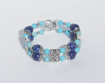Blue/turquoise howlite and silver memory wire bracelet