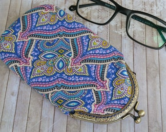 Spectacle case, cotton Glasses case, Sunglasses Case, metal frame case, Glasses case with East pattern, Kiss lock clasp