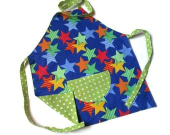 cooking apron child 6/10 years - lined reversible - multi-colored stars blue background