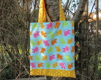 bag, kids tote-bag, bag library double and reversible cats, stars, pink yellow green orange