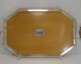 Handsome Antique English Oak & Silver Plate Tray - Silver Mount - 1910