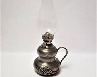 10% OFF Pewter kerosene lamp floral motive