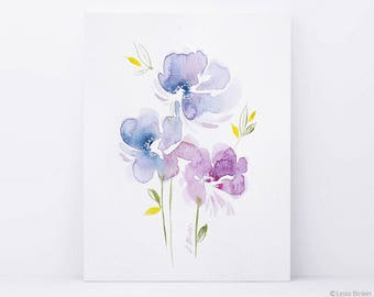 ORIGINAL flower watercolor, flower watercolor painting, lilac flower art, abstract painting, blue watercolor art,  pink flower art