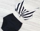 High Waisted Bikini, Vintage Style, Bathing Suit, Striped, Beachwear For Women, Stripe Swimsuit, 2 Piece, Padded Bikini, Black & White