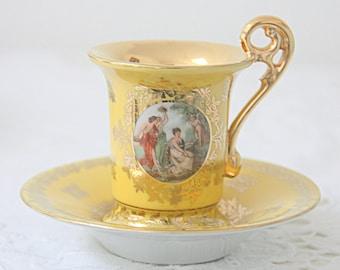 Vintage Demitasse Cup and Saucer, Francois Boucher Decor, Bremer & Schmidt, Germany