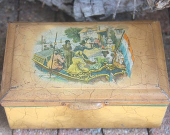 Vintage Cookie Tin with Footed Base, Middle Age Painting Decor