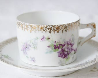 Lovely Antique Demitasse Cup and Saucer, Hand Painted Flower Decor, Schlegelmilch