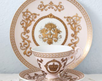 Vintage Meander Pink Demitasse Size Tea Trio, Cup and Saucer and Pastry Plate, Crown and Cherub Decor, Real Gold Gilding