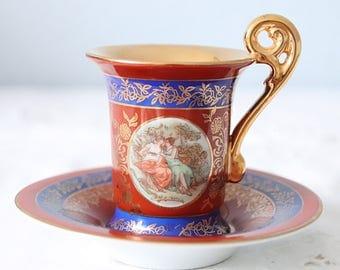 Vintage Demitasse Cup and Saucer, Empire Style, Francois Boucher Decor, Bremer & Schmidt, Germany