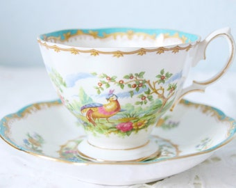 Vintage Royal Albert 'Chelsea Bird' Gentleman Size Cup and Saucer, Blue Design, England